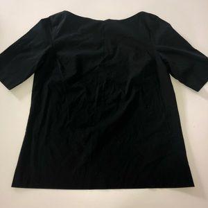 Worthington black blouse shirt top l zip sturdy